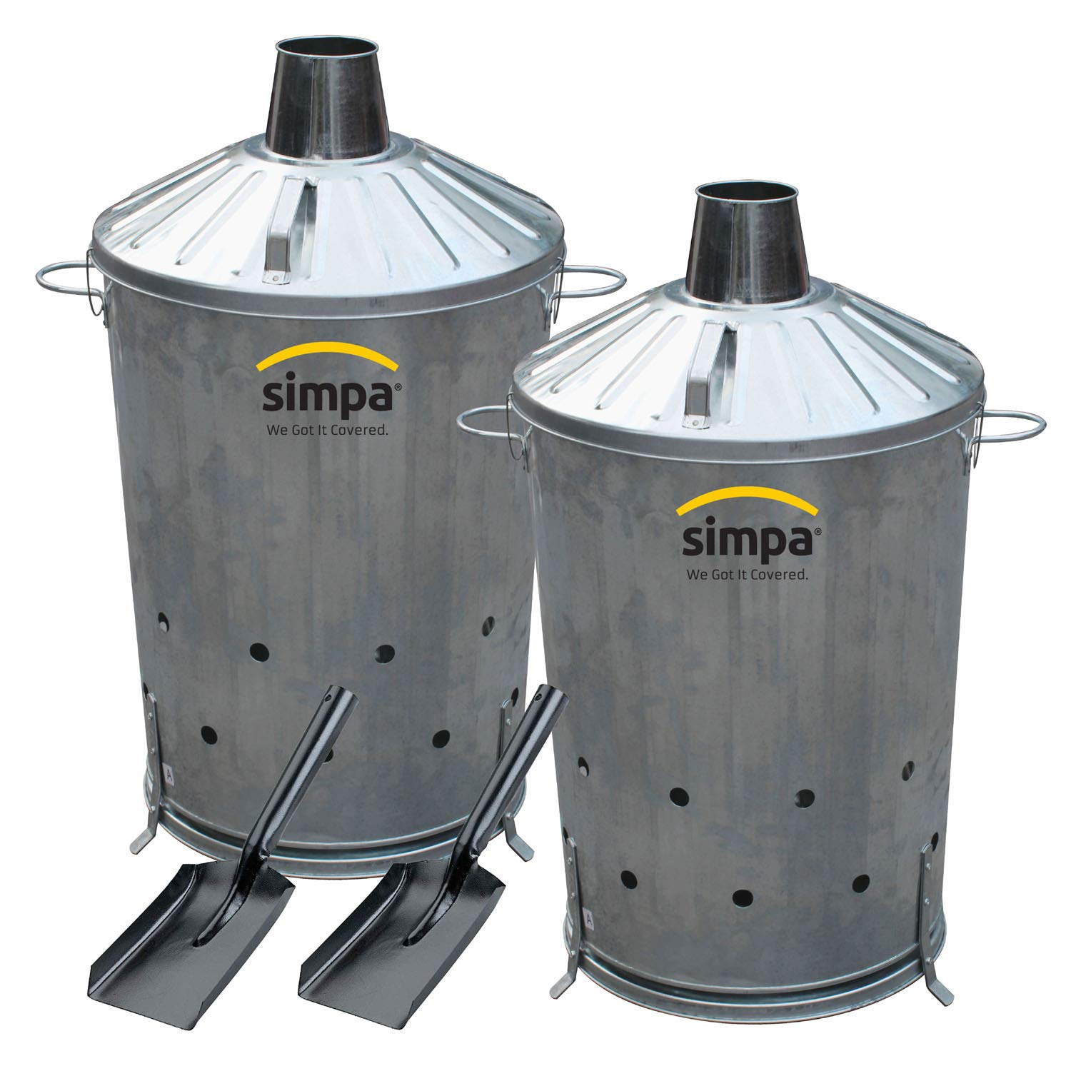 simpa 90L 90 Litre Large CENTRE DRAFT Galvanised Metal Incinerator Fire Burning Bin with Special Locking Lid - Greater ventilation for rapid burn.