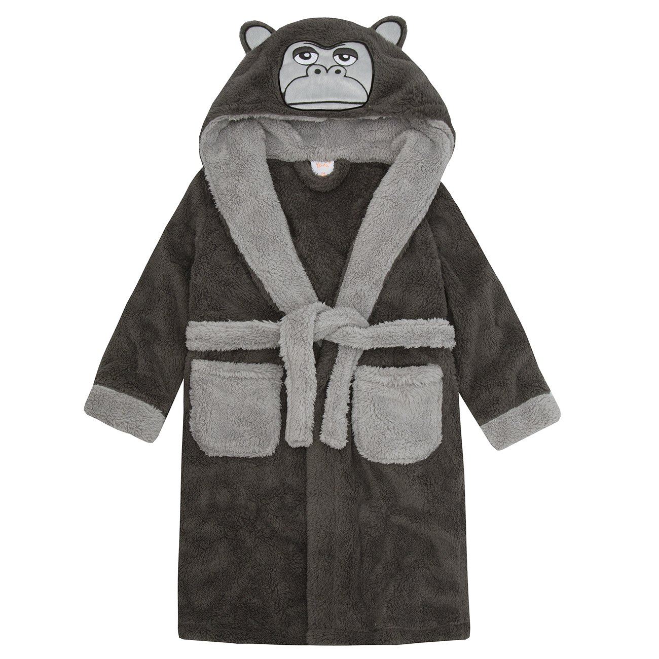 4Kidz Childrens/Boys Gorilla Snuggle Fleece Hooded Dressing Gown ~ 7-13 Years