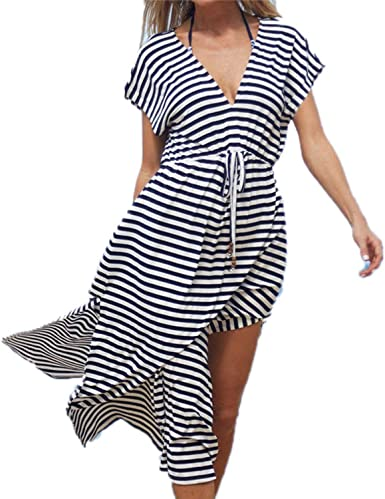 Anewsex Striped Swimsuit Cover Up Beach Robee Beachwear Long Beach Dress Womens Swim Wear Multi One Size At Amazon Women S Clothing Store