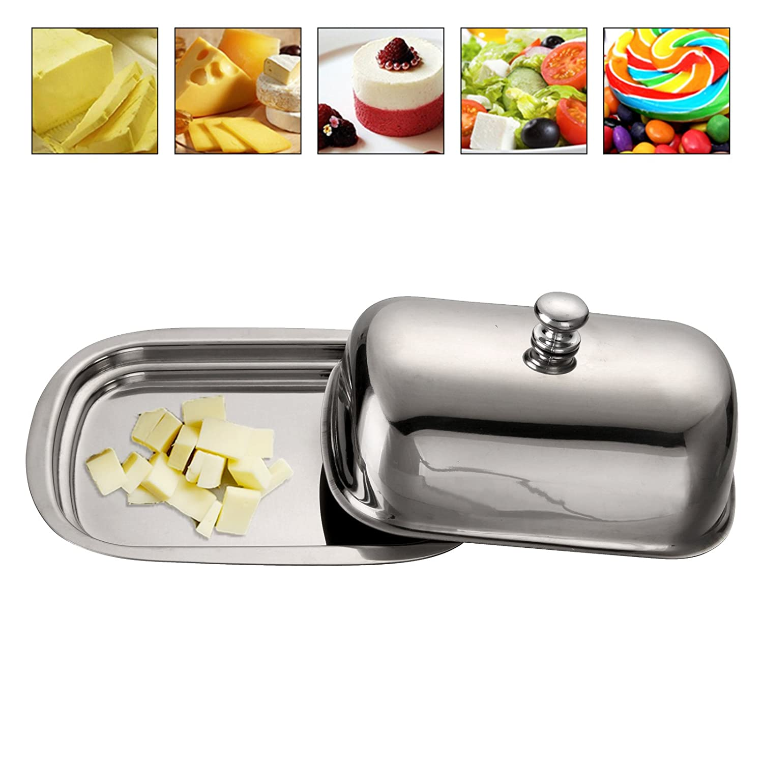 Huayao Stainless Steel Butter Dish Table Serving Tray Storage