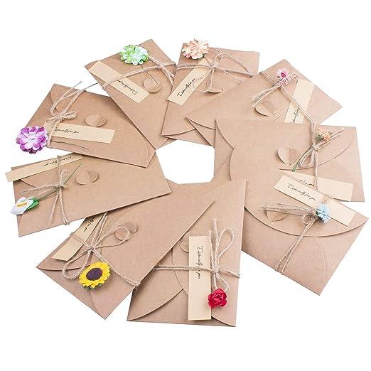 Tarjeta de Felicitación y Sobres,9 Multipack Papel Kraft Sobres ...