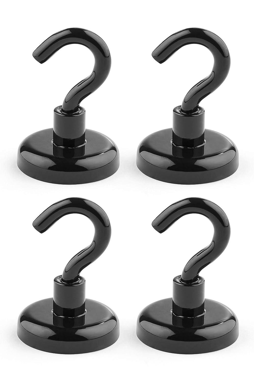 Magnethaken schwarz /Ø 32x49 mm starke Neodym Haken-Magnete Haftkraft 34 kg 4 St/ück