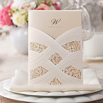 wishmade 50pcs ivory laser cut lace wedding invitation kit card stock with embossed floral for marriage - Invitation Card Stock