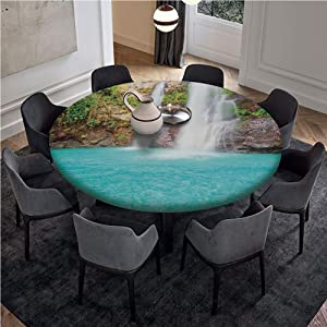 "Pull Rope Edged Cotton and Linen Fitted Table Cover with Pull Rope,Fits 55"" Diameter Tables,Waterfall,Waterfall and Clear Natural Pool Plants Sunbeams Summer Day View,Aqua Green Light Brown"
