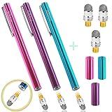 aibow タッチペン スマートフォン タブレット スタイラスペン iPad iPhone Android 3本+ペン先3個 6mm (ピンク+ライトブルー+パープル)