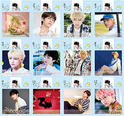Yovvin Bts Desk Calendar 2019 To 2020 Kpop Bangtan Boys Jungkook Jimin V Suga Jin J Hope Rap Monster 2019 To 2020 Desktop Calendar For The Army Style 02 Amazon Co Uk Kitchen Home