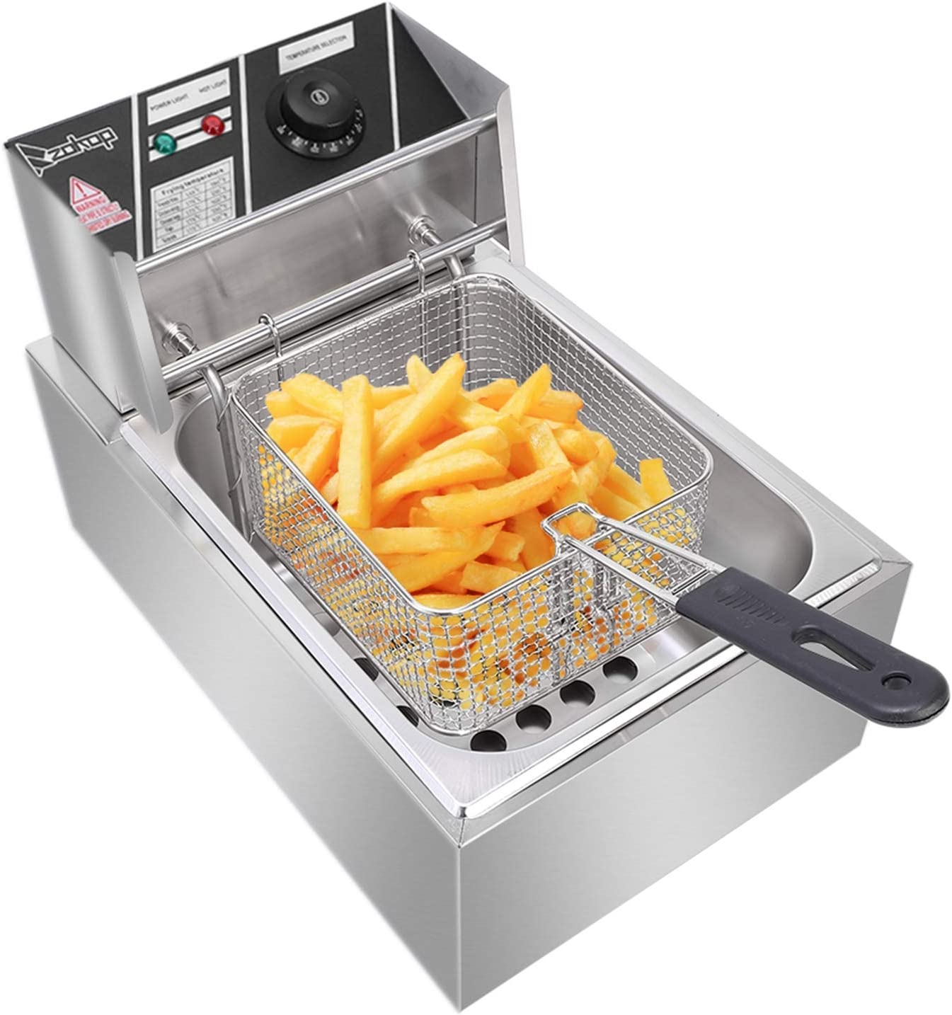 6L Commercial Deep Fryer for the Home with Basket & Lids, Stainless Steel Electrical Deep Fryer with Temperature Control, Outdoor Fry Daddy Deep Fryer for Chicken Fish French Fries 2500W