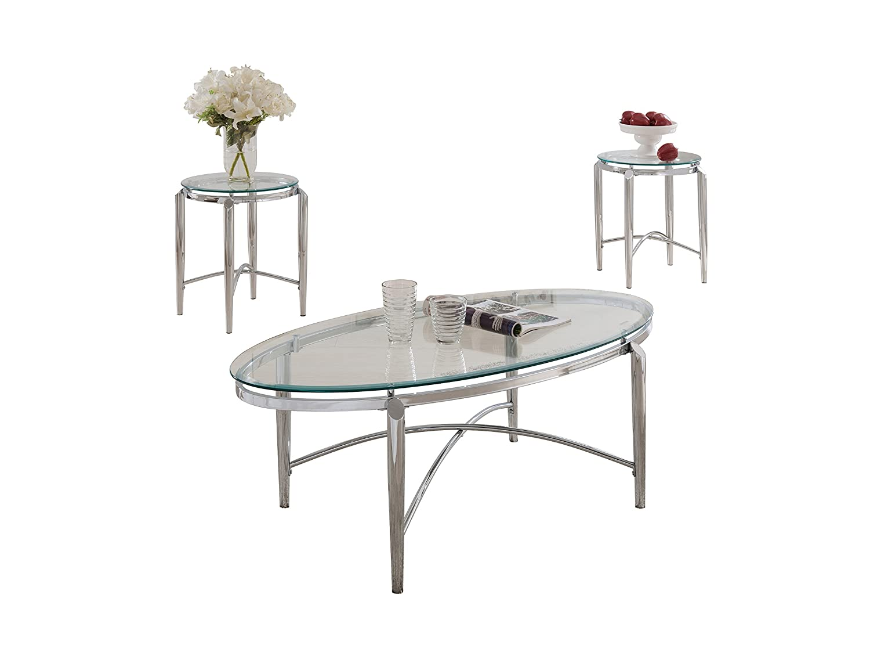 Amazon Com Pilaster Designs 3 Piece Chrome And Glass Coffee