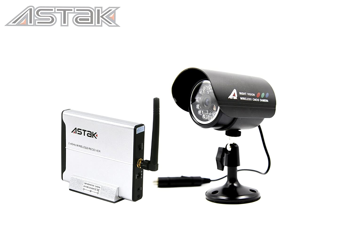 Astak 2.4GHz Wireless Color Security Surveillance Cameras Day/Night Vision  Video IR Waterproof Cameras CCTV System with Receiver Box & CMOS Sensors,  ...