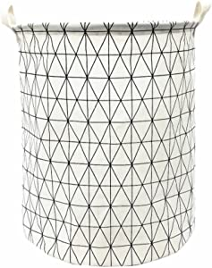 "TIBAOLOVER 19.7"" Large Sized Waterproof Foldable Canvas Laundry Hamper Bucket with Handles for Storage Bin,Kids Room,Home Organizer,Nursery Storage,Baby Hamper(Geometric Pattern-White)"