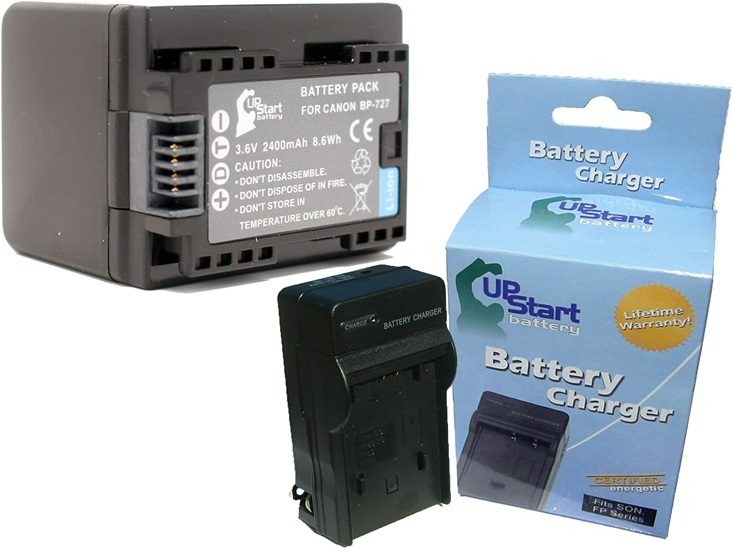 Charger with Car /& EU Adapters 2 Pack Replacement for Canon LEGRIA HF R46 Battery Compatible with Canon BP-727 Digital Camera Battery and Charger 2400mAh 3.6V Lithium-Ion
