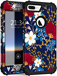 Hocase iPhone 8 Plus Case, iPhone 7 Plus Case, Heavy Duty Shockproof Protection Hard Plastic+Silicone Rubber Hybrid Protective Case for iPhone 7 Plus/iPhone 8 Plus - Creative Flowers
