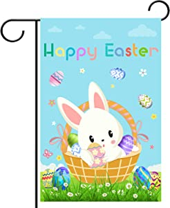 WEBSUN Happy Easter Day Garden Flag Double Sided 12 x 18 Inch, Polyester Easter Garden Flag for Outdoor Yard & Home Decorations