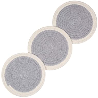 100% Cotton Thread Weave Pot Holders, Hot Pads, Pot Holders, Spoon Rest, Jar Opener & Coasters, for Cooking and Baking, Diameter 7 Inches, Round, Set of 3, Light Gray