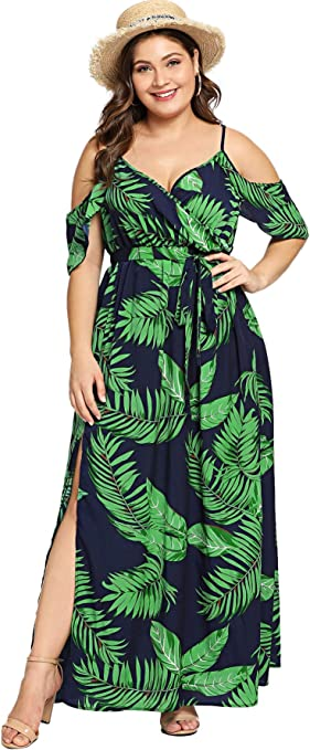 Women's Plus Size Cold Shoulder Floral Summer Maxi Dress