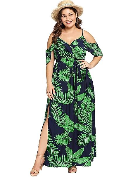 Milumia Women\'s Plus Size Cold Shoulder Floral Slit Hem Tropical Summer  Maxi Dress