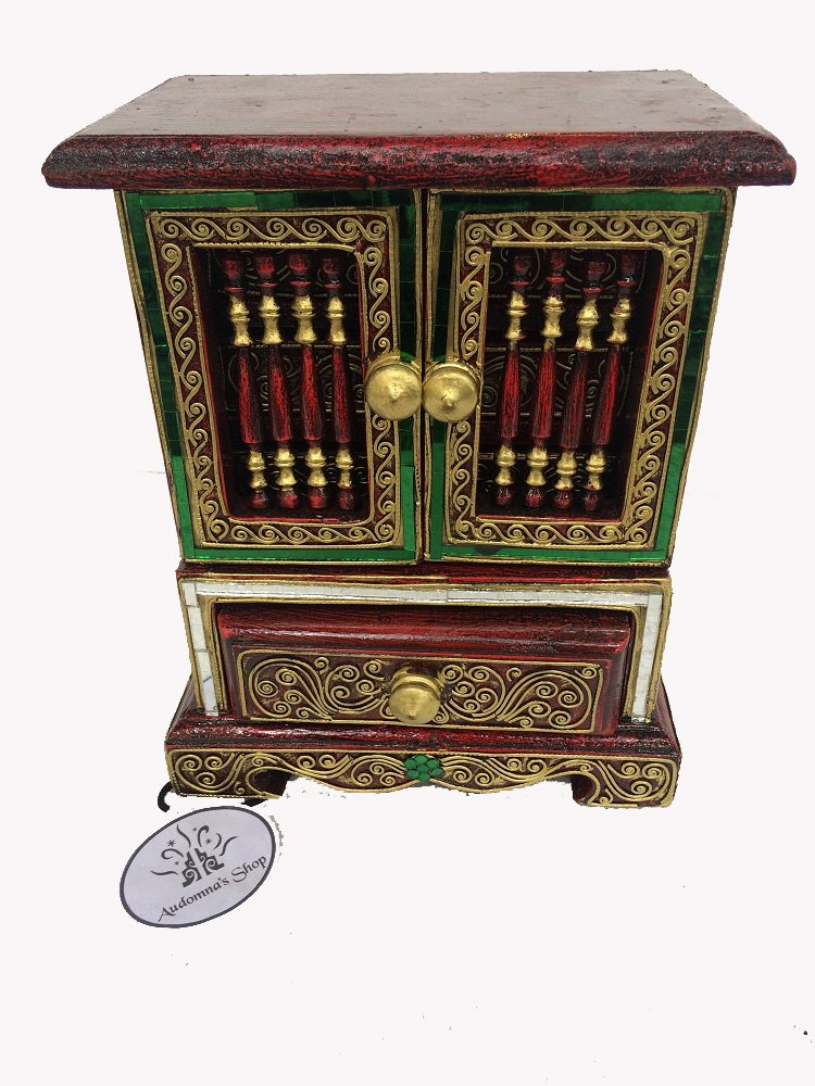 Audomna Shop Thai Colorful Cabinets with Drawers Teakwood Teak Wood Wooden Box Chest for Jewelry Rings & Necklaces by Audomna Shop