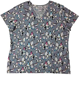 98336da6bd0 Amazon.com: Womens Gray Penguin Scarf Stretch Medical Smock Nurse Scrubs  Shirt Top: Clothing
