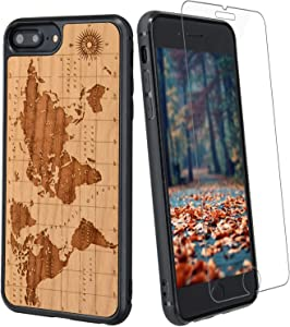 World Map Wood Phone Case Compatible with iPhone 8, 7, 6, 6s Includes Glass Screen Protector, Wireless Charging Compatible, Shockproof Protective Cover