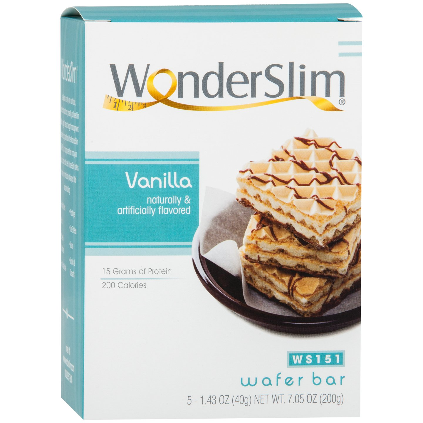 WonderSlim Weight Loss Meal Replacement Wafer Bar - High Protein, Trans Fat Free, Aspartame Free, Cholesterol Free - Vanilla, 1 Box (5 ct)