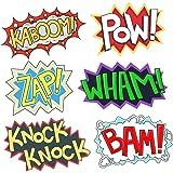 Superhero Party Cardboard Superhero Sounds Sayings Word Cutouts ( 6 different pcs in 1), 16,5''x 11'' per word, BAM POW WHAM ZAP KABOOM KNOCK-KNOCK, Superhero theme birthday supplies