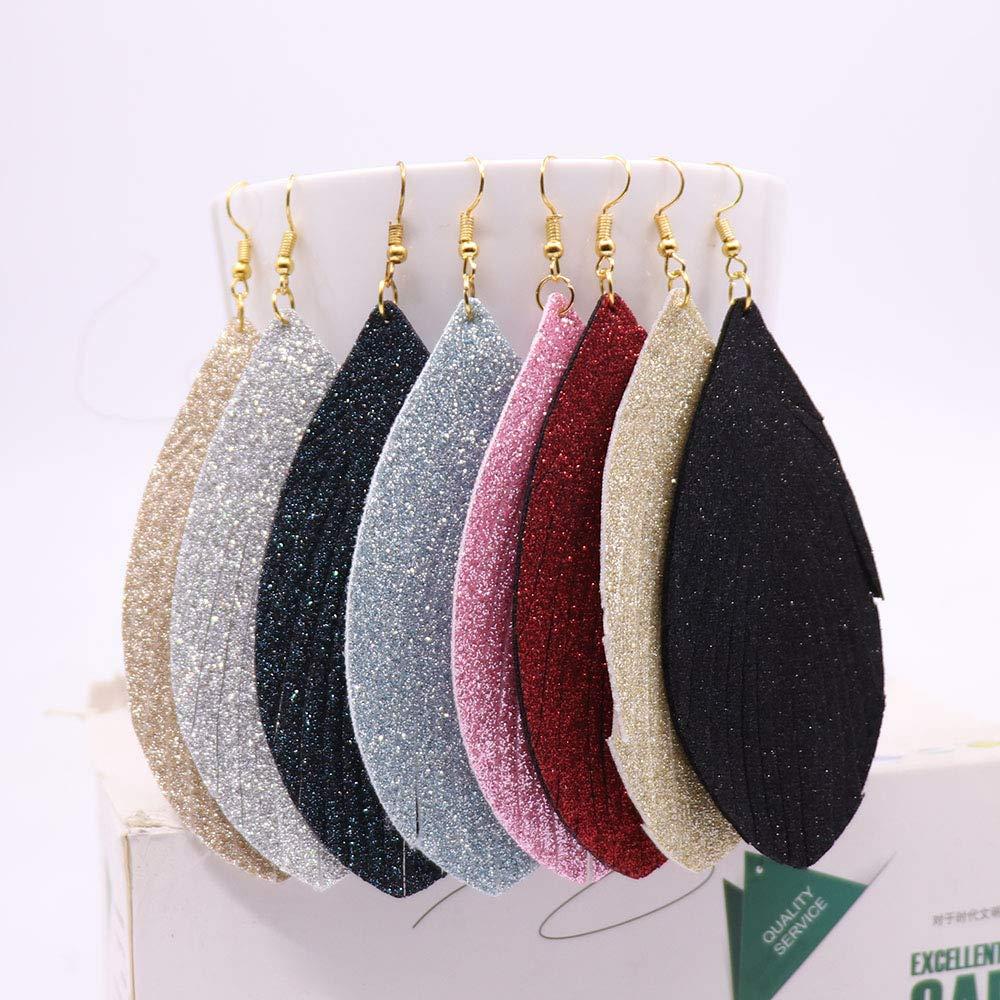 KSQS Leather Teardrop Earrings Set Petal Leaf Drop Earrings Soft and Lightweight Dangle for Women
