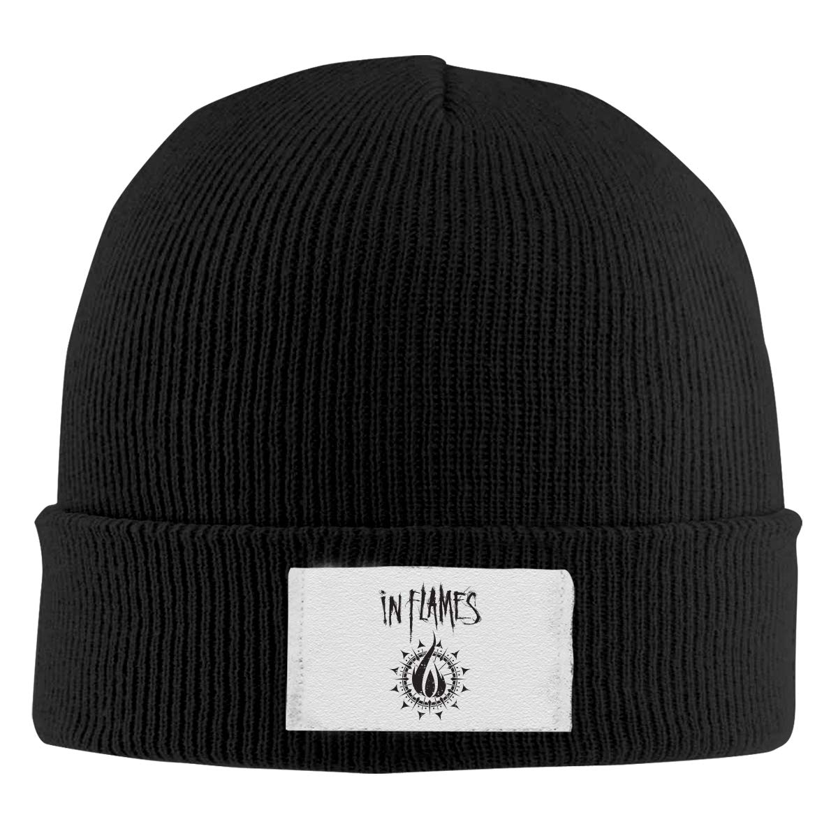 Skull Caps in Flames Winter Warm Knit Hats Stretchy Cuff Beanie Hat Black