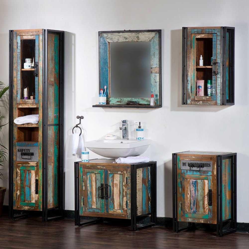 Badmöbel Set in Bunt Holz Loft Style (4-teilig) Pharao24 günstig ...