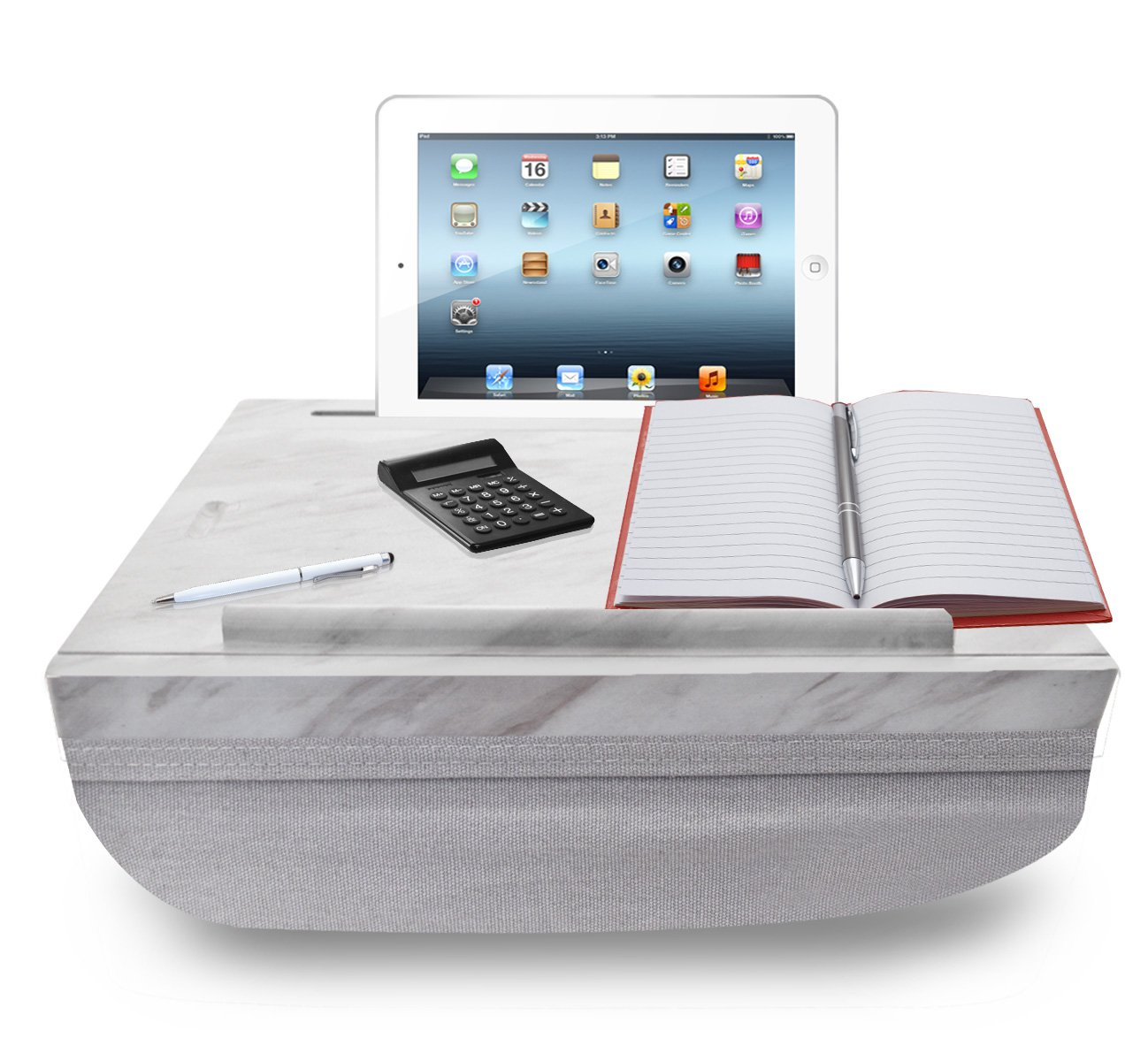iCozy Portable Cushion Lap Desk With Storage - Marble / Charcoal Grey