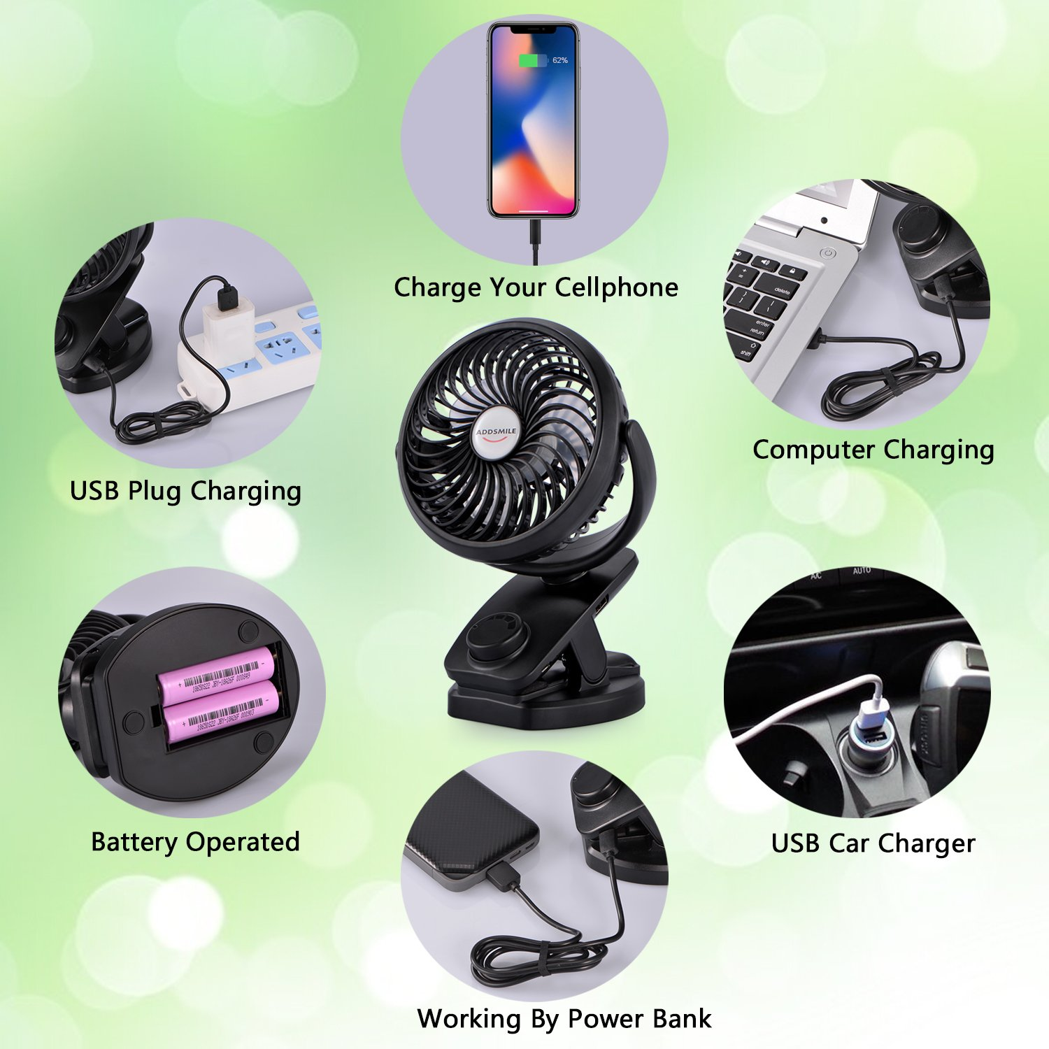 Rechargeable Battery Operated Clip Fan, Portable Clip on USB Desk Fan, ADDSMILE 4400mAh Battery/USB Powered Personal Mini Fan for Baby Stroller/Office/Gym/Beds/Car/Traveling/Camping(6~40h) (Mini)