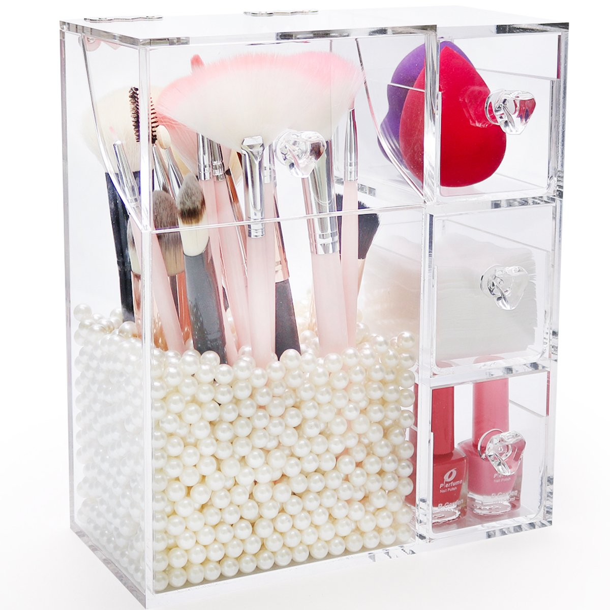 Makeup Brush Holder with Lid,Large Cosmetic Brush Organizer with 3 Drawers,Dust-proof Box with Pearls for Lipsticks,Sponge,Brush,Makeup Tools,Clear - NEWCREA by NEWCREA
