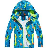 IjnUhb Waterproof Boys Rain Jacket Lightweight Zipper Hoodies for Kids Dinosaurs Coat Outerwear