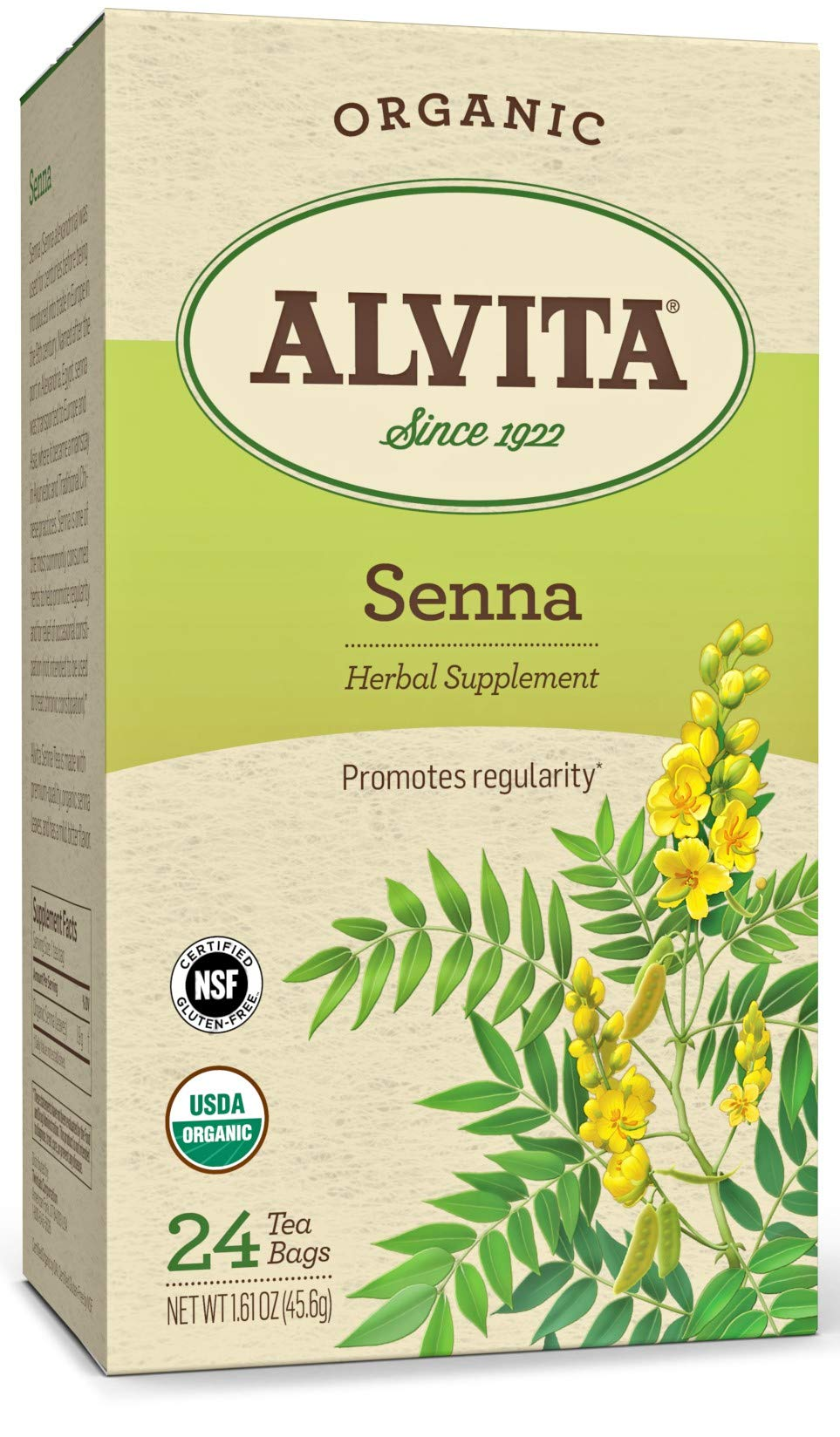 Alvita Organic Senna Herbal Tea - Made with Premium Quality Organic Senna Leaves, And A Mild Bitter Flavor, 24 Tea Bags