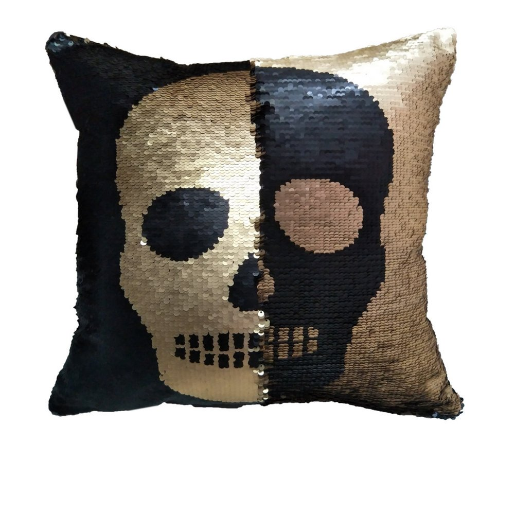 Positioning Embroidery Pillow Cases Reversible Sequins Mermaid Pillow Covers, Children's Day Gift 4040 cm Magical Color Changing Pillowcase Indoor Decorations (Skull_Black+Gold)