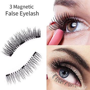 ef13349cb55 Amazon.com : Branpac Magnetic False Eyelashes Three-Magnetic Glue-free Fake  Eyelashes Makeup Hand-made Reuseable Thin and Lightweight False Eyelashes  ...