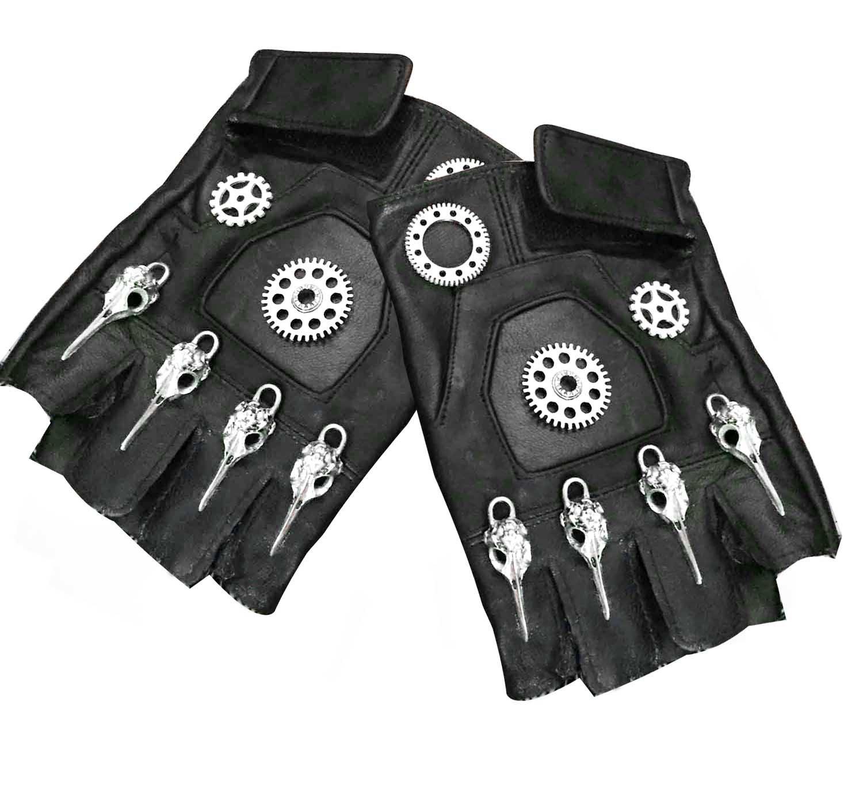 Mens Unisex Steampunk Gears Gothic Genuine Leather Half Finger Fingerless Gloves 4