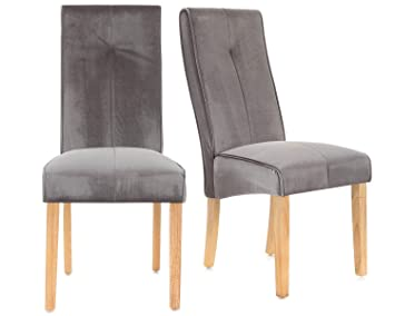 Lifestyle Furniture Set Of 2 Grey Velvet Dining Chairs High Back