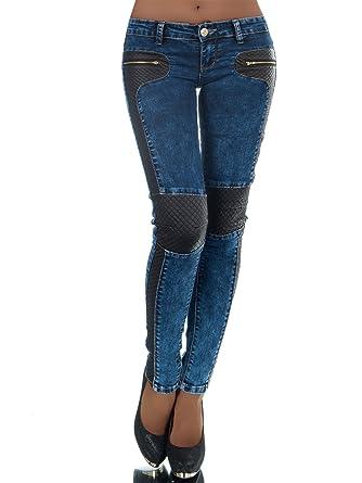 FASHION BOUTIK jeans jean bi matiere simili cuir matelassé femme sexy 34 36  38 40 42 680288fbf0d3
