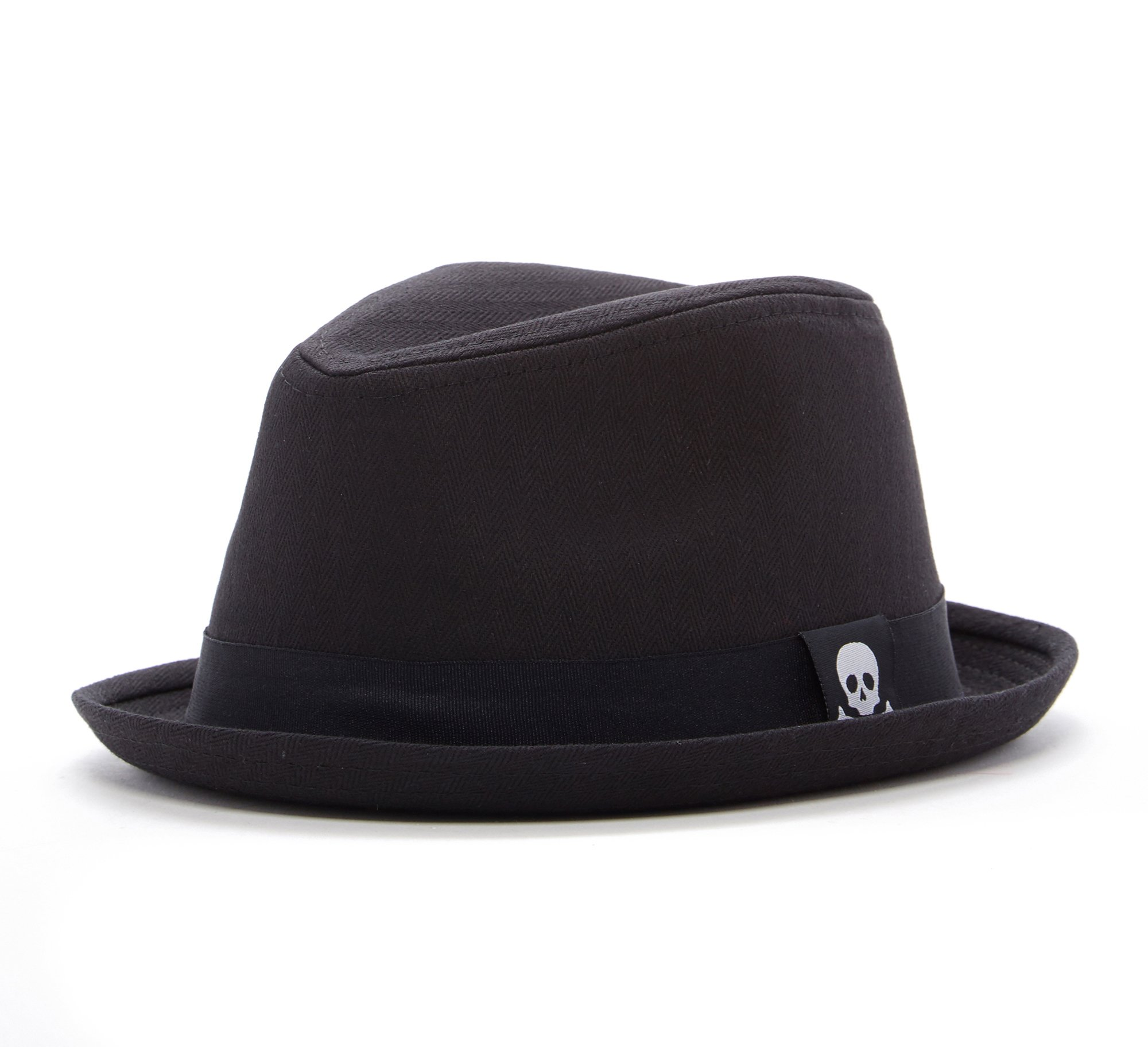 Born to Love Boy's Fedora Hat With Skull-Black And White -L (55 cm 5-9 years)