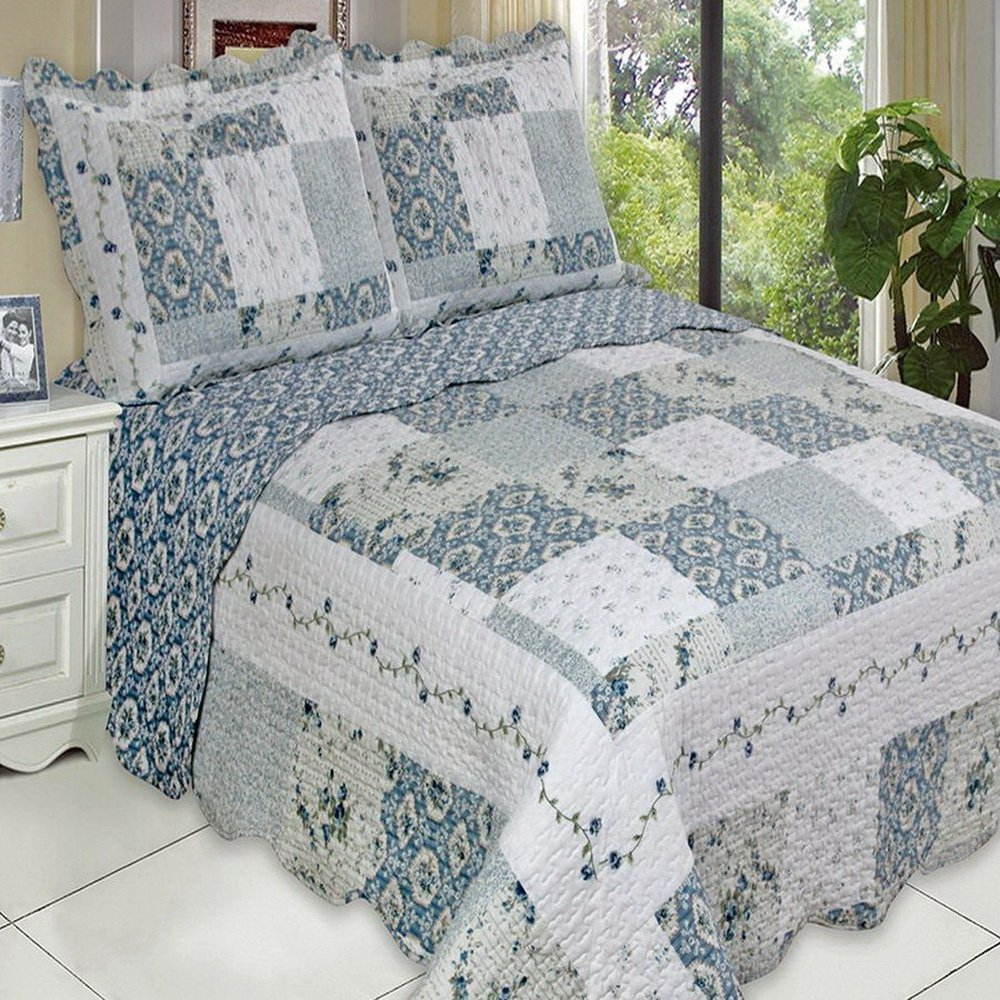 Country Cottage Blue Floral Patchwork Quilt Coverlet Set Vintage Story Cushion Shabby 60x60cm 2 King Size Oversized Home Kitchen
