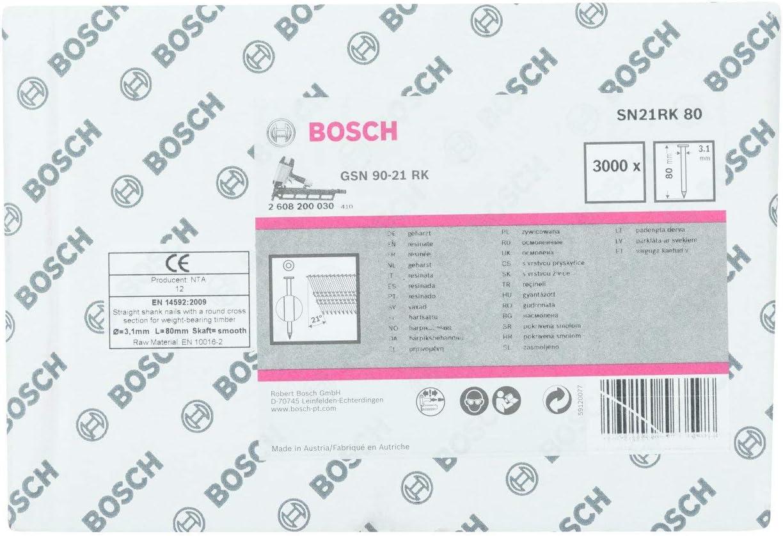 Lot de 3000 7mm T/ête 3.1mm x 80mm Clous en Bande /à T/ête Ronde 21/° SN21RK 80