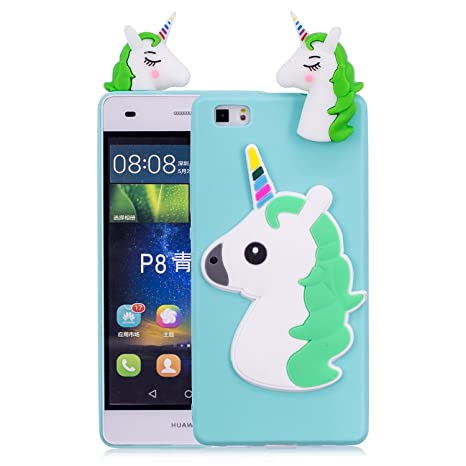 Funluna Funda Huawei P8 Lite, 3D Unicornio Silicona Dibujo Animado Suave Case Cover Protección Cáscara Soft Gel TPU Carcasa para Huawei P8 Lite, Azul ...