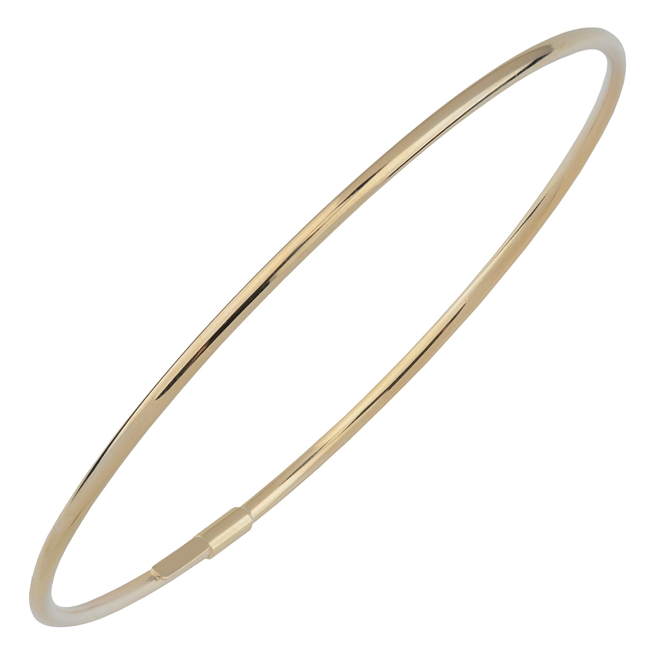 Kooljewelry 14k Yellow Gold 2mm High Polish Slip-on Bangle Bracelet