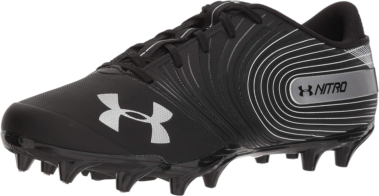 Under Armour Men's Nitro Low MC Football Shoe, Black (001)/White, 14