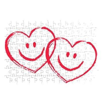2 Rote Ineinander Verschlungene Smiley Herzen Vektor Puzzle