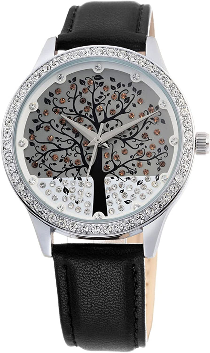Ladies Wishing Tree Crystal Fashion Casual Black Leather Quartz Wrist Watches
