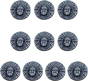 Mingchen Vintage Indians Decorative Buckle Engraving Round Shape Conchos Castings Screw Back Button Personality DIY Leather Goods Decoration Accessories 10 Pieces