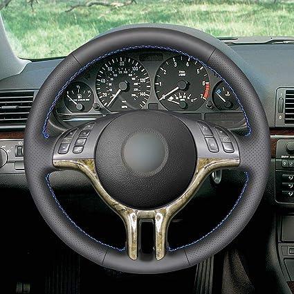 Mewant Handgenähte Customized Black Echtes Leder Lenkrad Wrap Für E39 E46 325i E53 X5 Auto