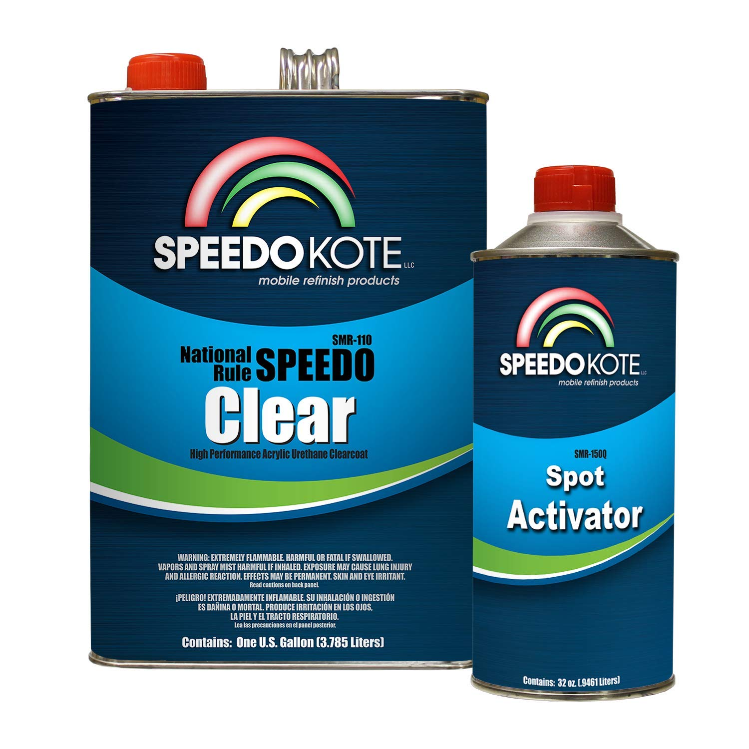 Speedokote SMR-110-M - Extremely Fast Dry Clear Coat, 20 minute buff, 4:1 mix Spot Clearcoat Gallon Kit with medium activator