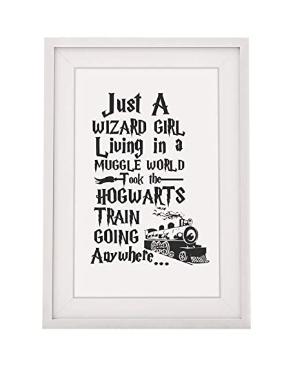 harry potter themed gift quote just a wizard girl living in a